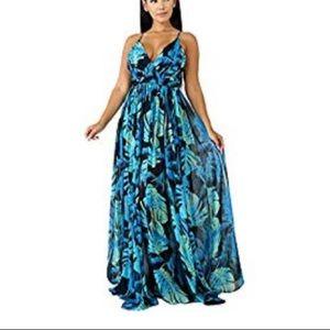Sexy chiffon Hawaiian print maxi dress.